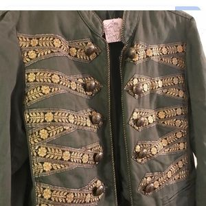 Free People: Green Twill Band Military Jacket (S)